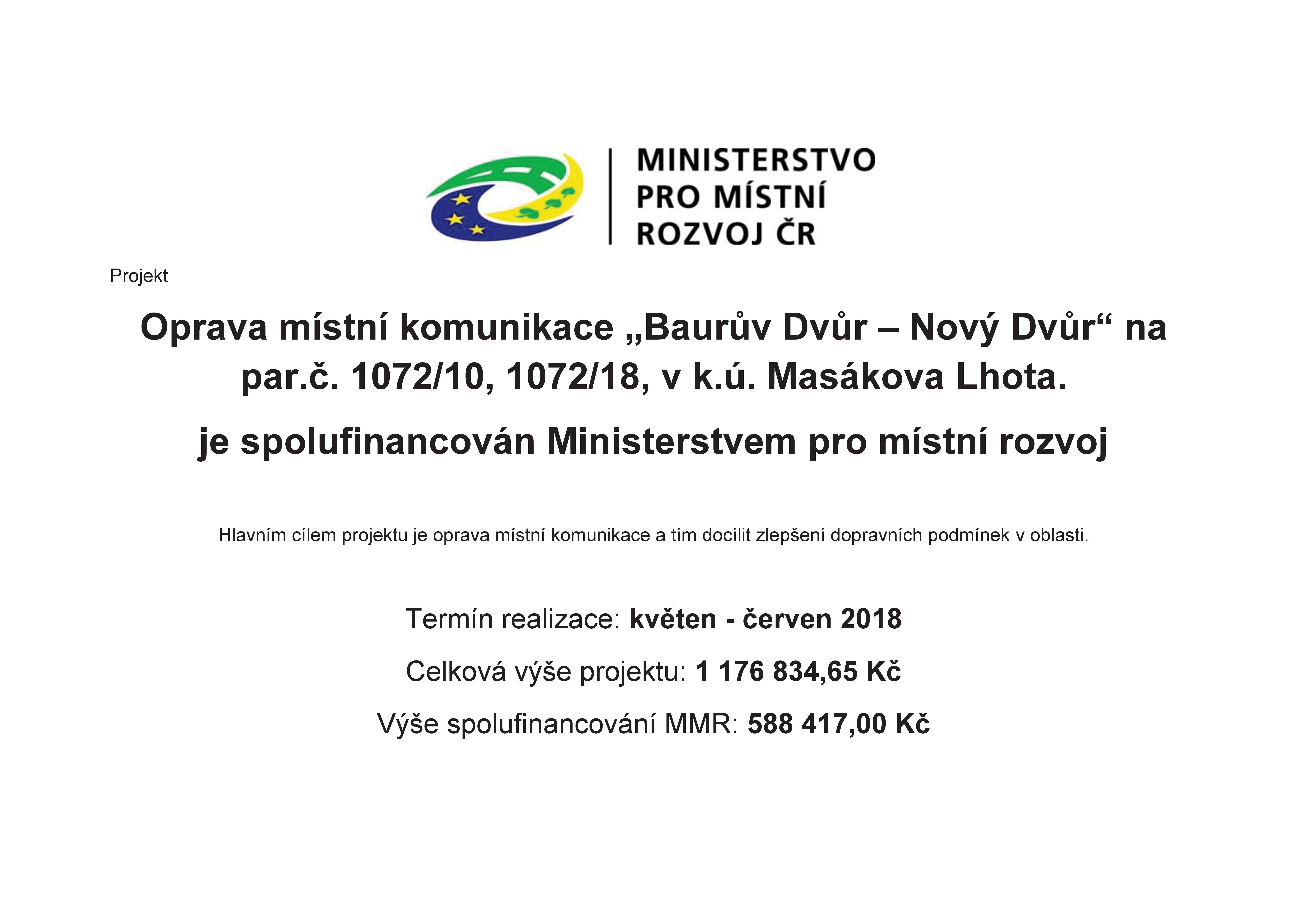 Publicita projektu MMR oprava MK